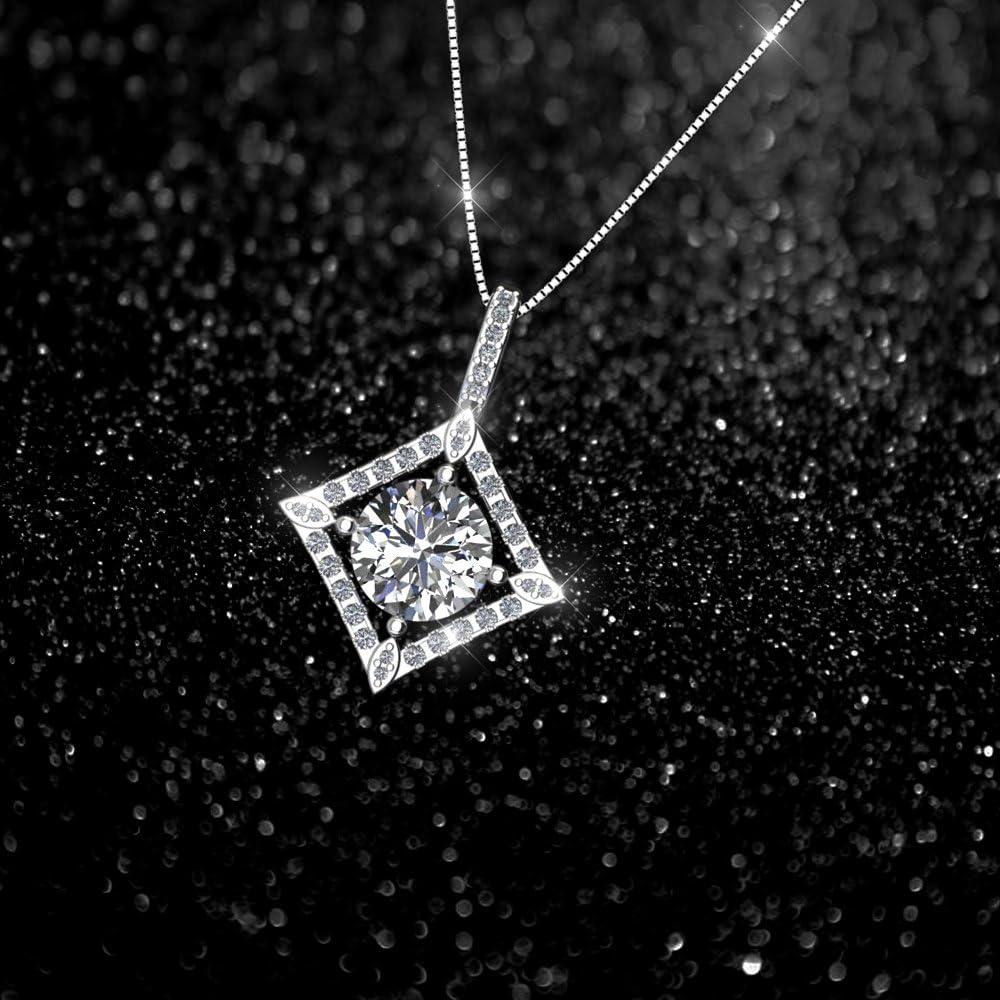 Bijou Id/éal comme Cadeau pour Femme Fille Oxyde de Zirconium Serti ONECK Collier Fantaisie en Argent 925 Pendentif Femme en Coeur avec 45cm Cha/îne Italienne
