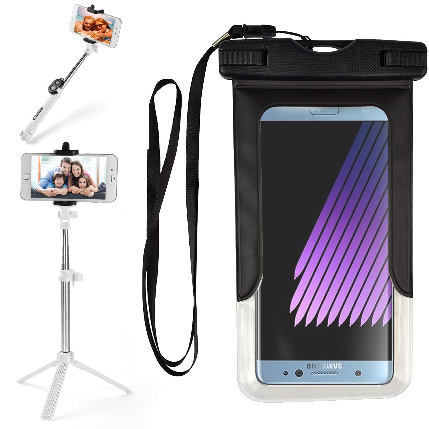 VG Case Selfie Photo Stick Bundle with Black Waterproof Cell Phone Armband Case Dry Bag Pouch for Motorola Moto G7, Plus, Power, Z3 Play, E5, Plus, Supra, G6, Play, Plus, Z2, G5s, E4