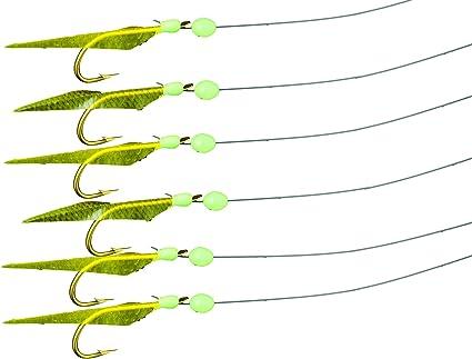 30 Packs Glow SABIKI RIGS FLURO Fishing Bait Hook Swirl Safty Snap