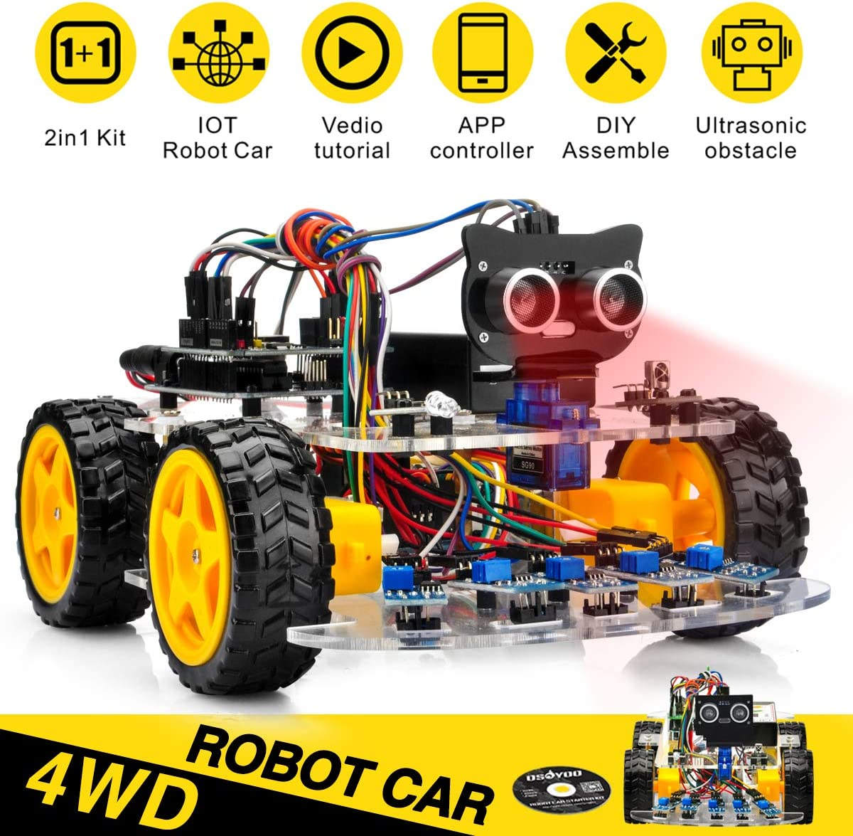 OSOYOO Robot Car Starter Kit for Arduino UNO | STEM Remote Control App Educational Motorized Robotics for Building, Programming & Learning How to Code | IOT Mechanical DIY Coding for Kids Teens