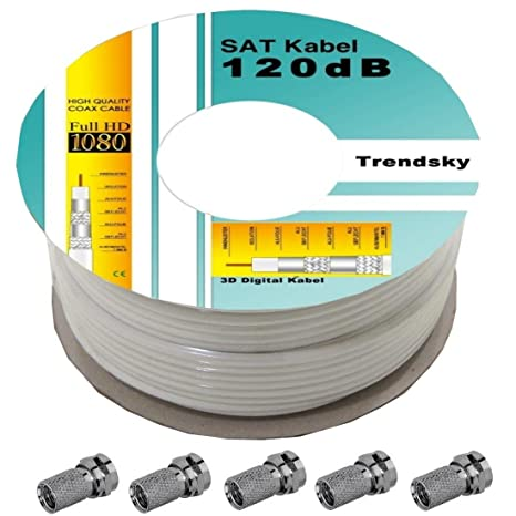 [+ 20 conectores F] TRENDSKY 50 m 120 Sat satélite Cable Coaxial LNB Antena