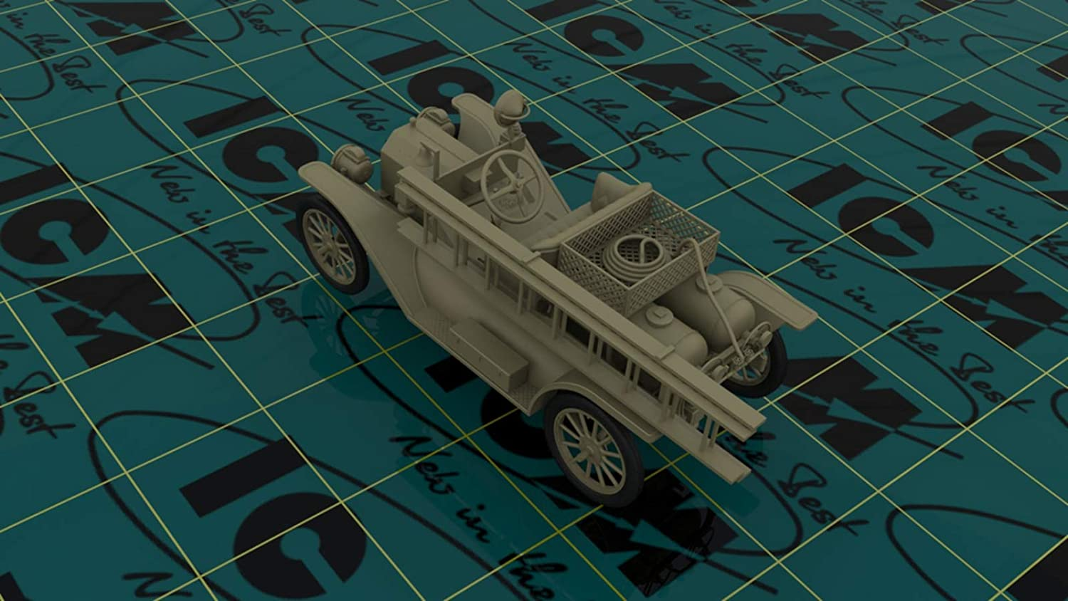 ICM 24017 Model T 1914 FIRE Truck with Crew Plastic Model KIT 1//24 Scale