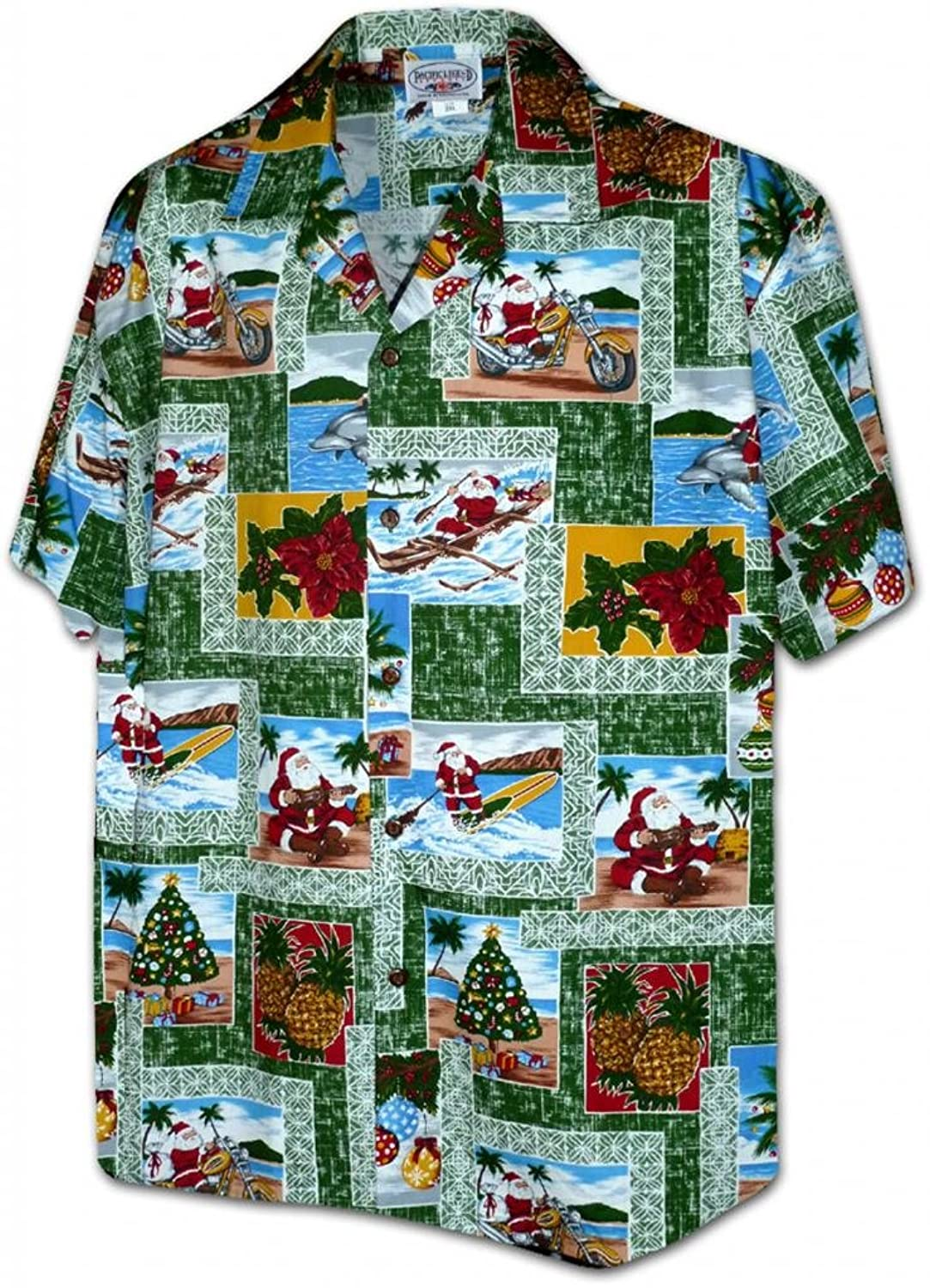 Pacific Legend Paradise Santa Christmas Hawaiian Shirts at Amazon ...