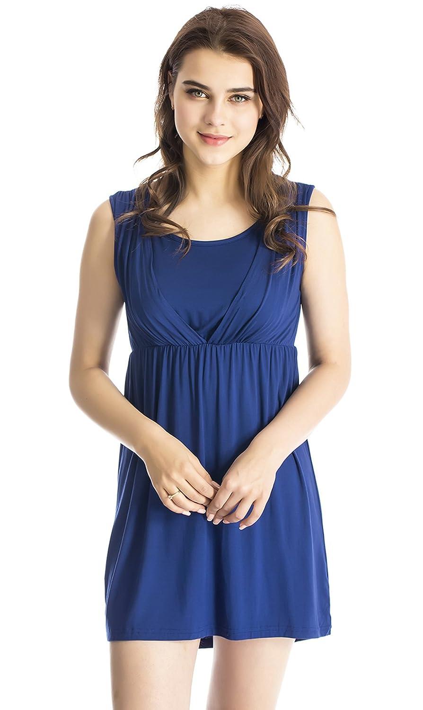 bluee Modern Mummy Women's Flexible Sleeveless Maternity Nursing Dress