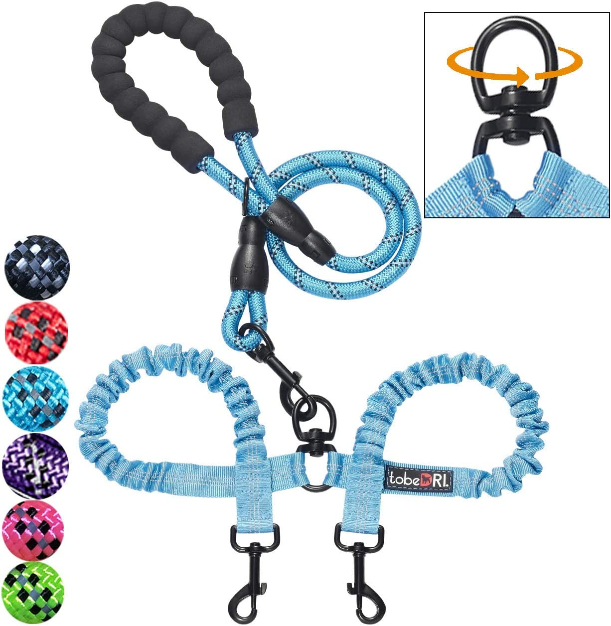 tobeDRI Comfortable Dual Dog Leash Tangle Free with Shock Absorbing Bungee Reflective 2 Dog Leashes for Large Medium Small Dogs 71ZTqSEiUUL