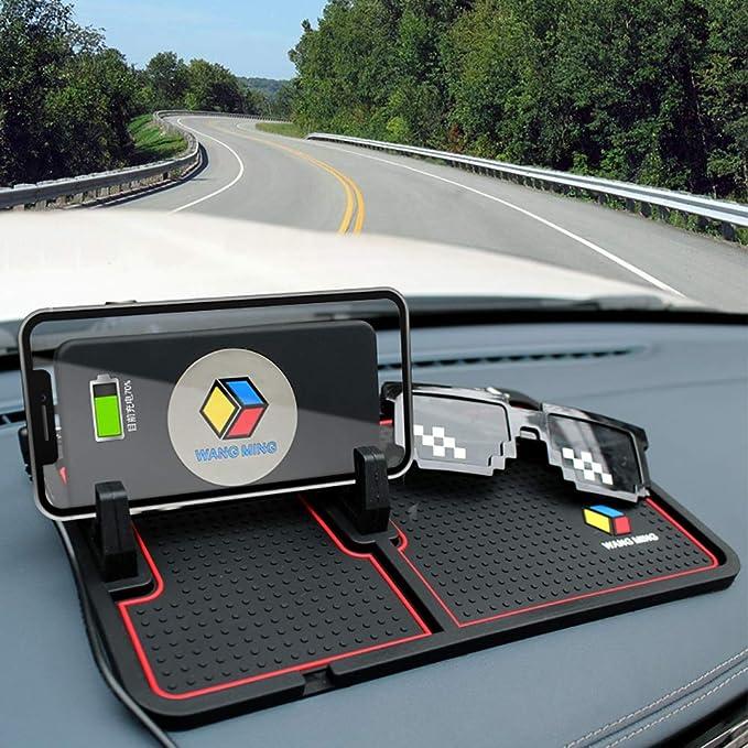 Black Wireless Charging Car Dashboard Phone Mount Pad Stand Base,No Slip Anti Skid Rubber Car Visor Dash Organizer Holder Tray Storage for Sunglasses,Key Chain,Coins,Pens,Cell Phone,GPS Navigator