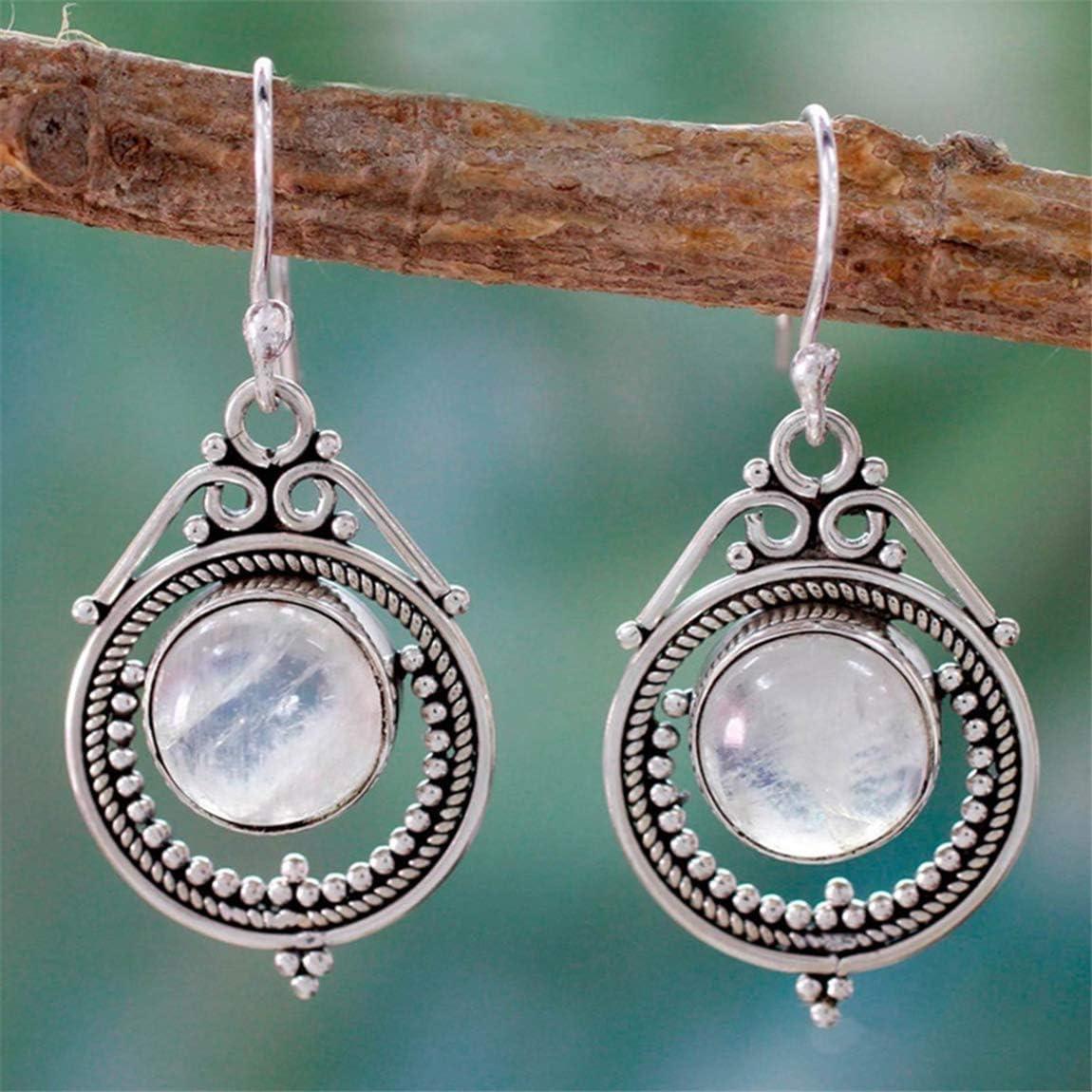 Weiy - Pendientes Colgantes de Plata con Piedras Preciosas de Luna y Piedras Preciosas, Estilo Vintage, para Bodas, Novias, Mujeres y niñas