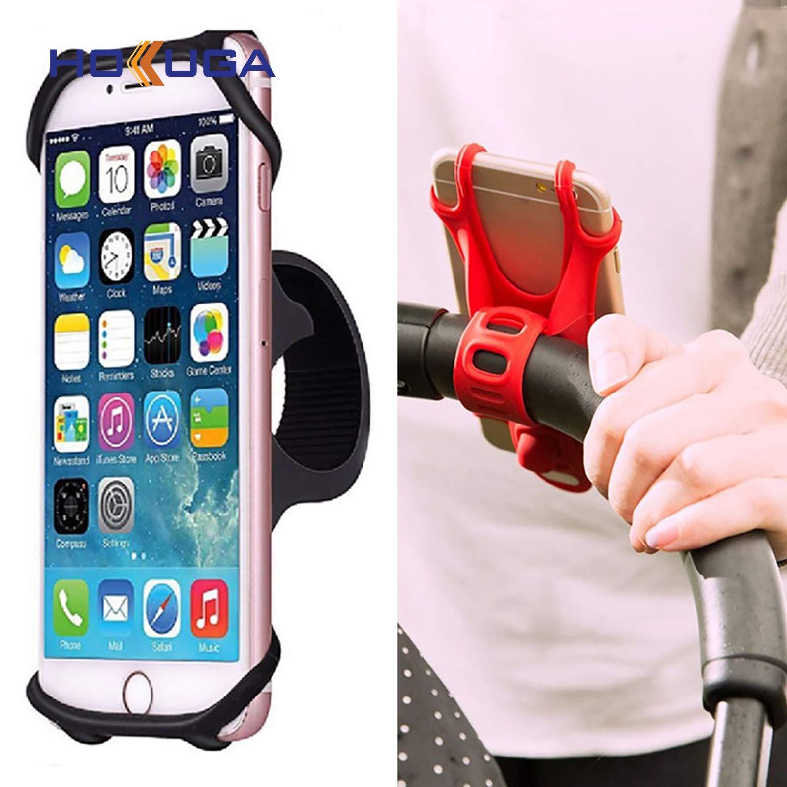 King Stroller Hooks - Stroller Hooks - Baby Stroller Accessories Universal Stroller Silicone Phone Holder Mobile Phone Holder for pram Moto Bicycle GPS Mount Bracket (Red) by HOKUGA