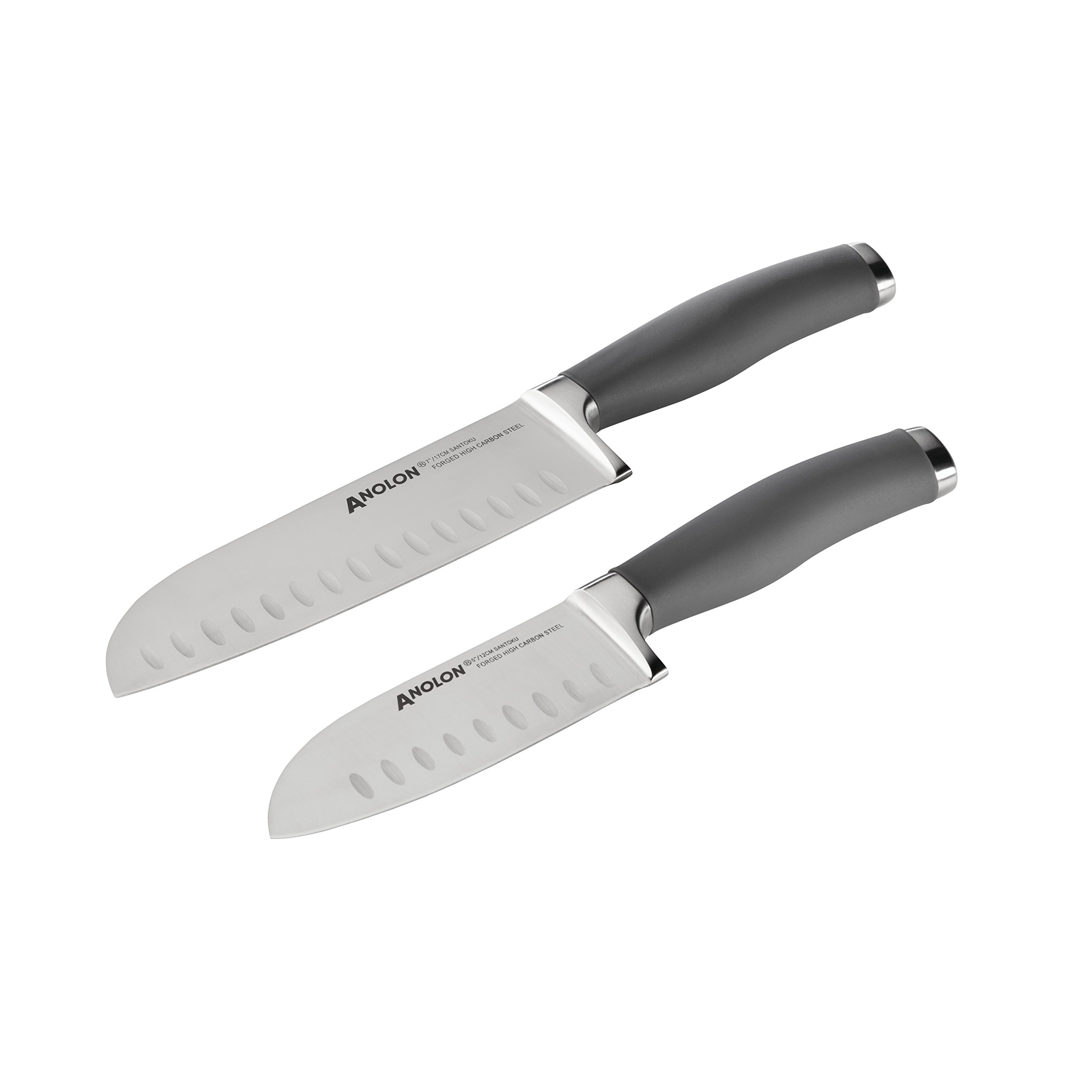 Anolon SureGrip Cutlery 2-Piece Japanese Stainless Steel Santoku Knife Set with Sheaths, Gray by Anolon