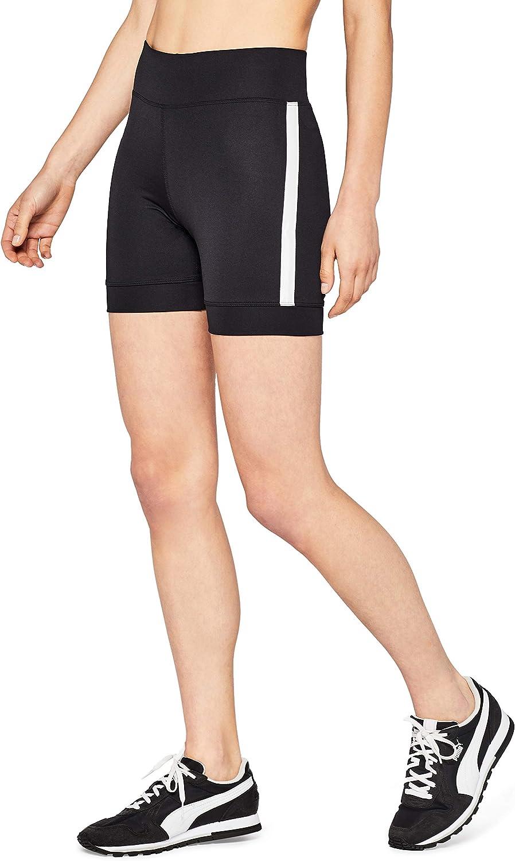 Marca Amazon - AURIQUE Short Ciclista con Banda Lateral Mujer