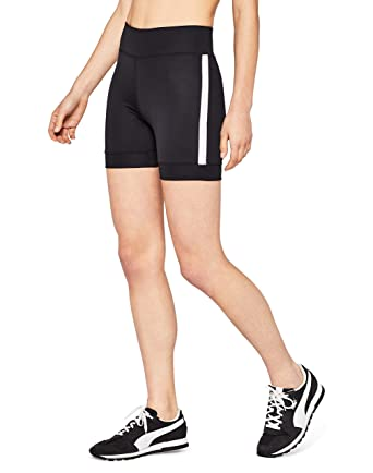 9053870125 AURIQUE Side Stripe Cycling Sports Shorts, Black, 8 (Size: X-Small