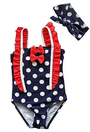 Uk Seller Girls Swimsuit Polka Dot Swimming Costume Bow Headband Set