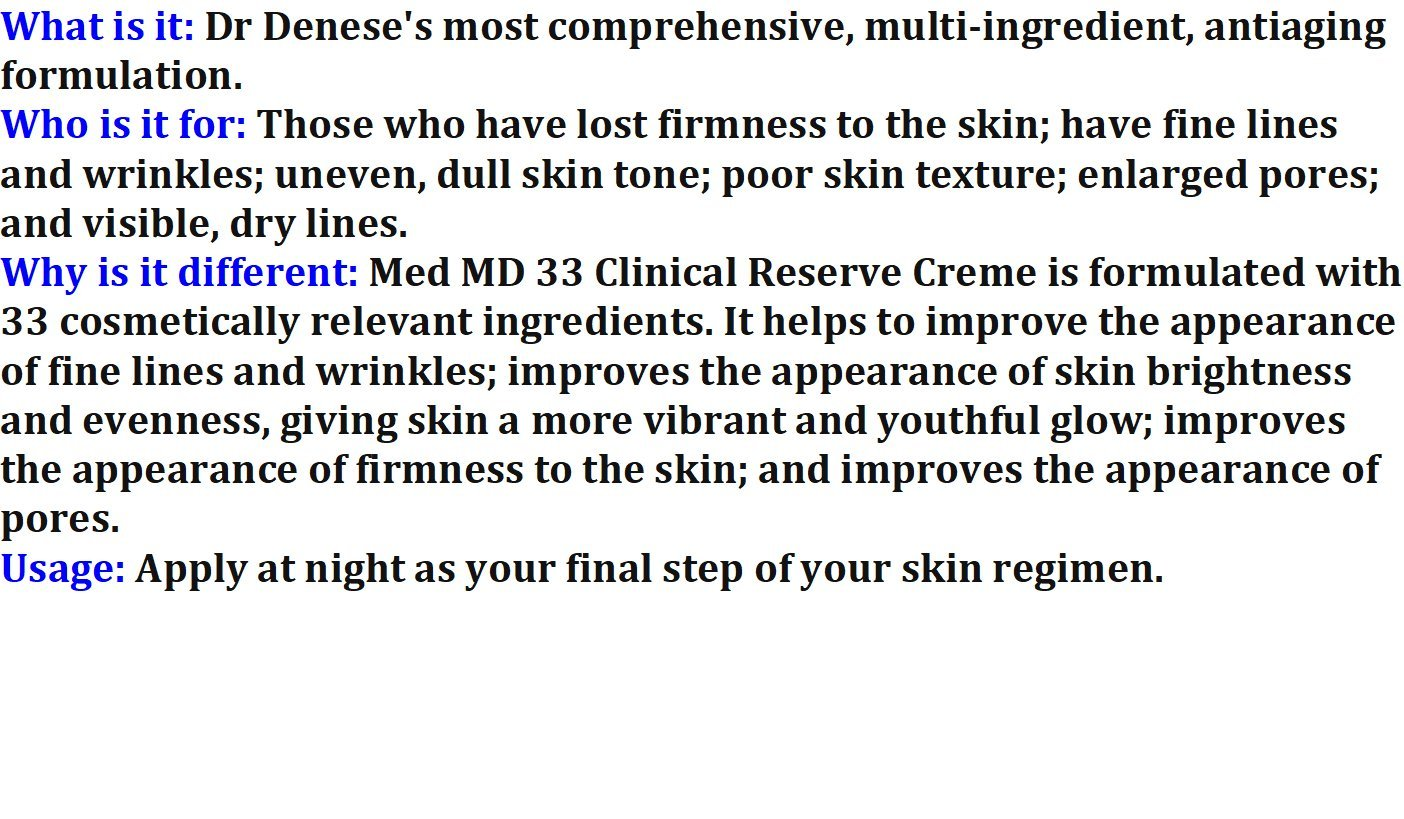 Med MD 33 Clinical Reserve Creme 3.4 oz