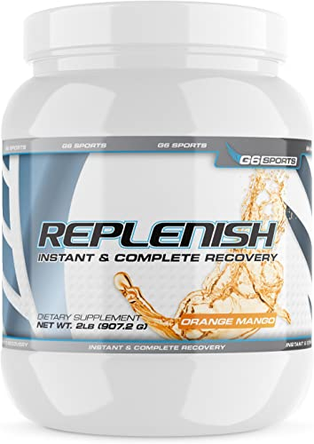 G6 Sports Nutrition Replenish Instant Complete Recovery Post Workout Formula, 11g of BCAAs EAAs, 20g Whey Protein, 1000mg Creatine MagnaPower, Zero Refined Sugars 2lb Jar Orange Mango