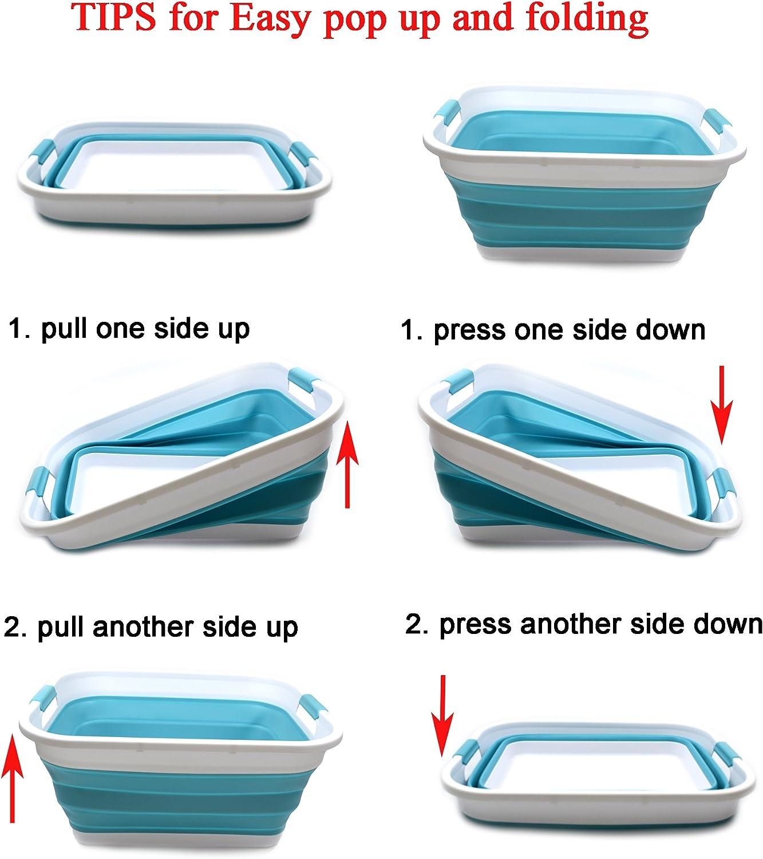 Gris SAMMART Cesta de lavander/ía de pl/ástico plegable Tina de lavado port/átil Contenedor // organizador plegable de almacenamiento port/átil Cesta // cesta de ahorro de espacio