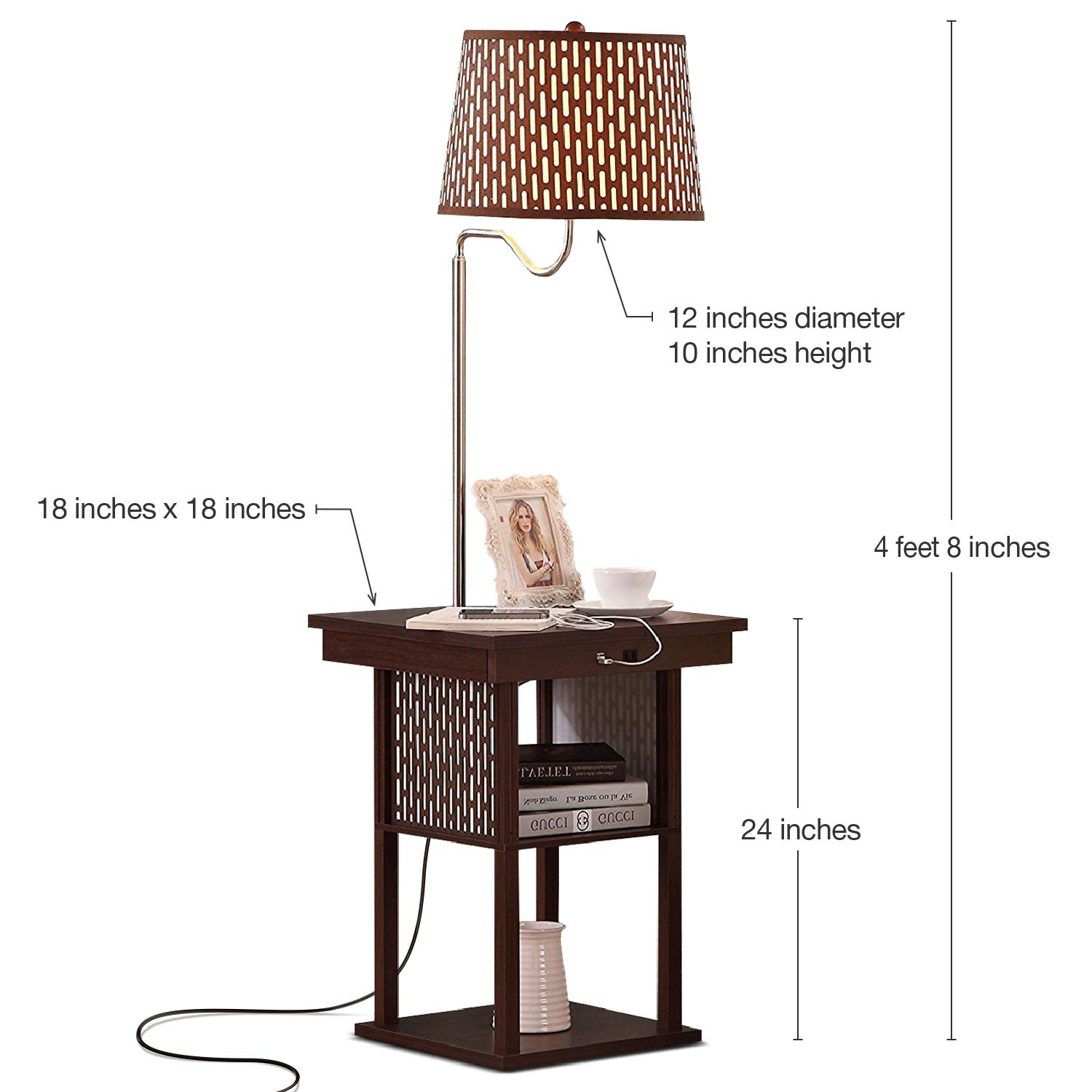 Astonishing Brightech Madison Led Floor Lamp With Usb Charging Ports Mid Century Modern Bedside Nighstand Table End Table With Shelves For Living Room Sofas Andrewgaddart Wooden Chair Designs For Living Room Andrewgaddartcom