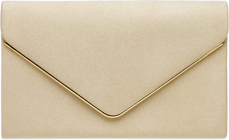 Caspar TA356 Bolso de Mano Fiesta de Cuero Velour para Mujer/Clutch Elegante con Cadena Larga