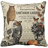 UOOPOO Modern Vintage Halloween Owl and Skull Throw Pillow Cover 18 x 18 Inches