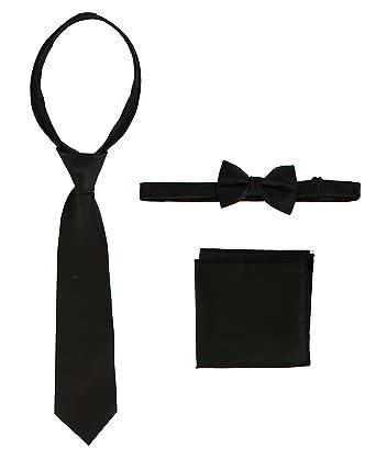 d6d8ad8a4b9c Gioberti Boys Solid Zippered Tie, Bow tie, and Handkerchief Set, Black,  Small
