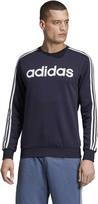 adidas Men's Essentials 3-Stripes Fleece Crew Sweatshirt: Clothing