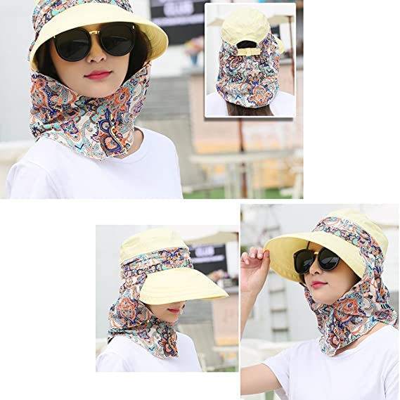 Amazon.com: LIANGJUN clothing Headwear Summer Womens Sun Hats Cycling Face Protection Travel Shade Sun Protection Fashion Wild Collapsible Removable, ...