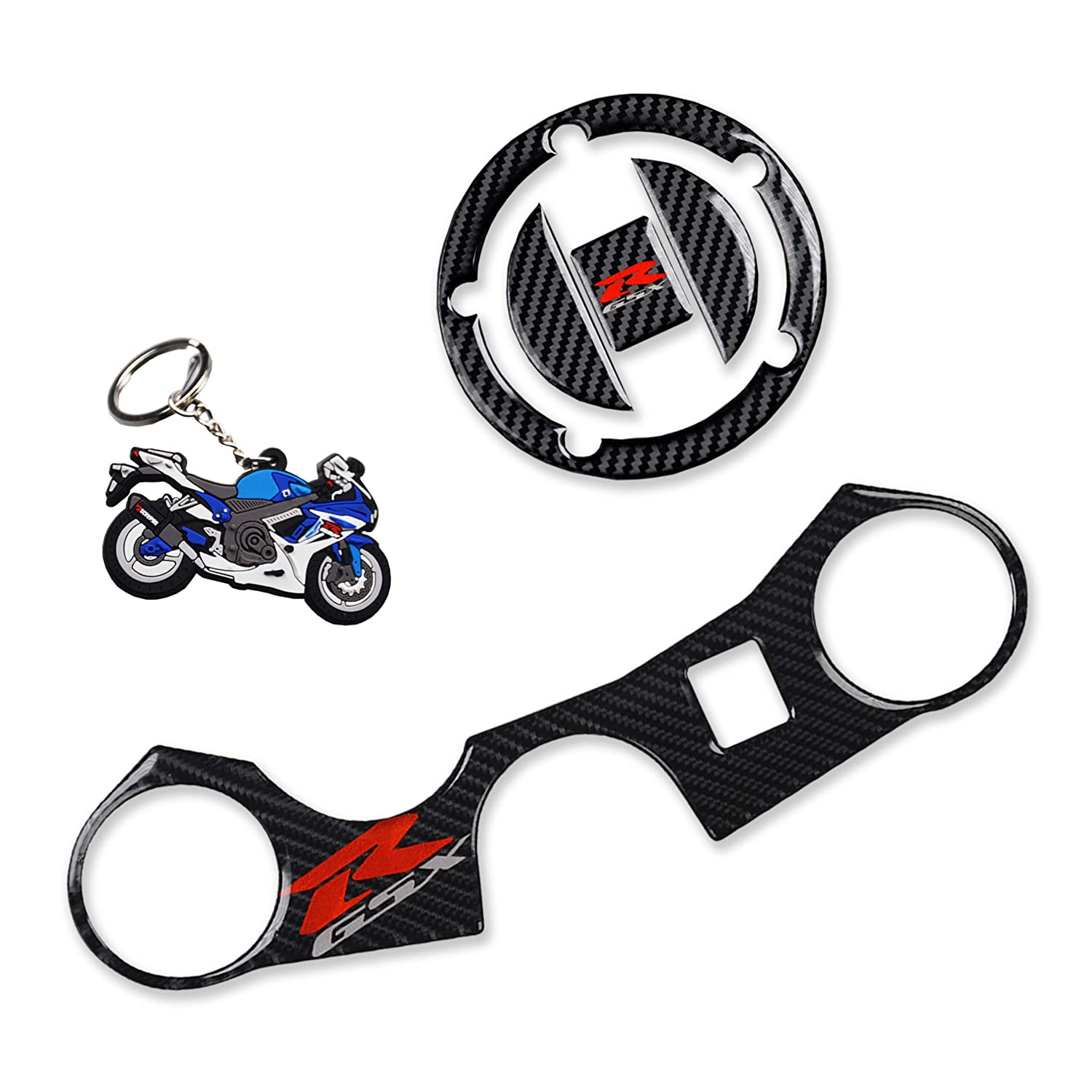 Decal Stickers for GSXR 600 GSXR 750 GSXR 1000 K6 K7 K8 K9 L1 2006-2017 3 Pcs Per Set Keychain and Triple Tree Front End Upper Top Clamp REVSOSTAR Real Carbon Look Gas Cap Fuel Cap