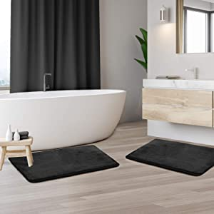 "Clara Clark Memory Foam Bath Mat Set of 2 - Non Slip, Absorbent, Soft Bath Rug Set - Fast Drying Washable Bath Mat - Navy Blue - Small Size 17"" x 24"""