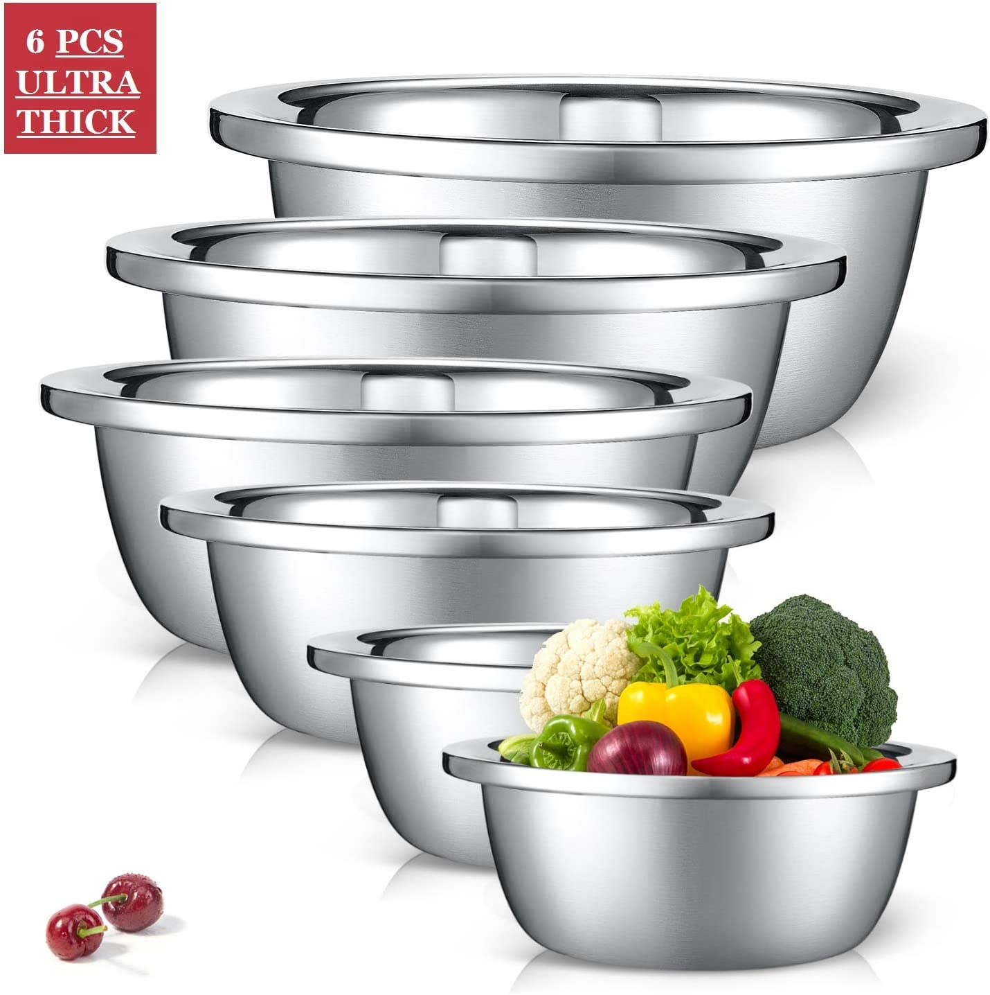 JPFS Stainless Steels Mixing Bowls Set of 6 Mirror Polished Mixing Blows Set Included ¾, 2, 3.5, 5, 6, 8 Quart, Nesting Basins Versatile For Cooking, Baking, Prepping &Serving