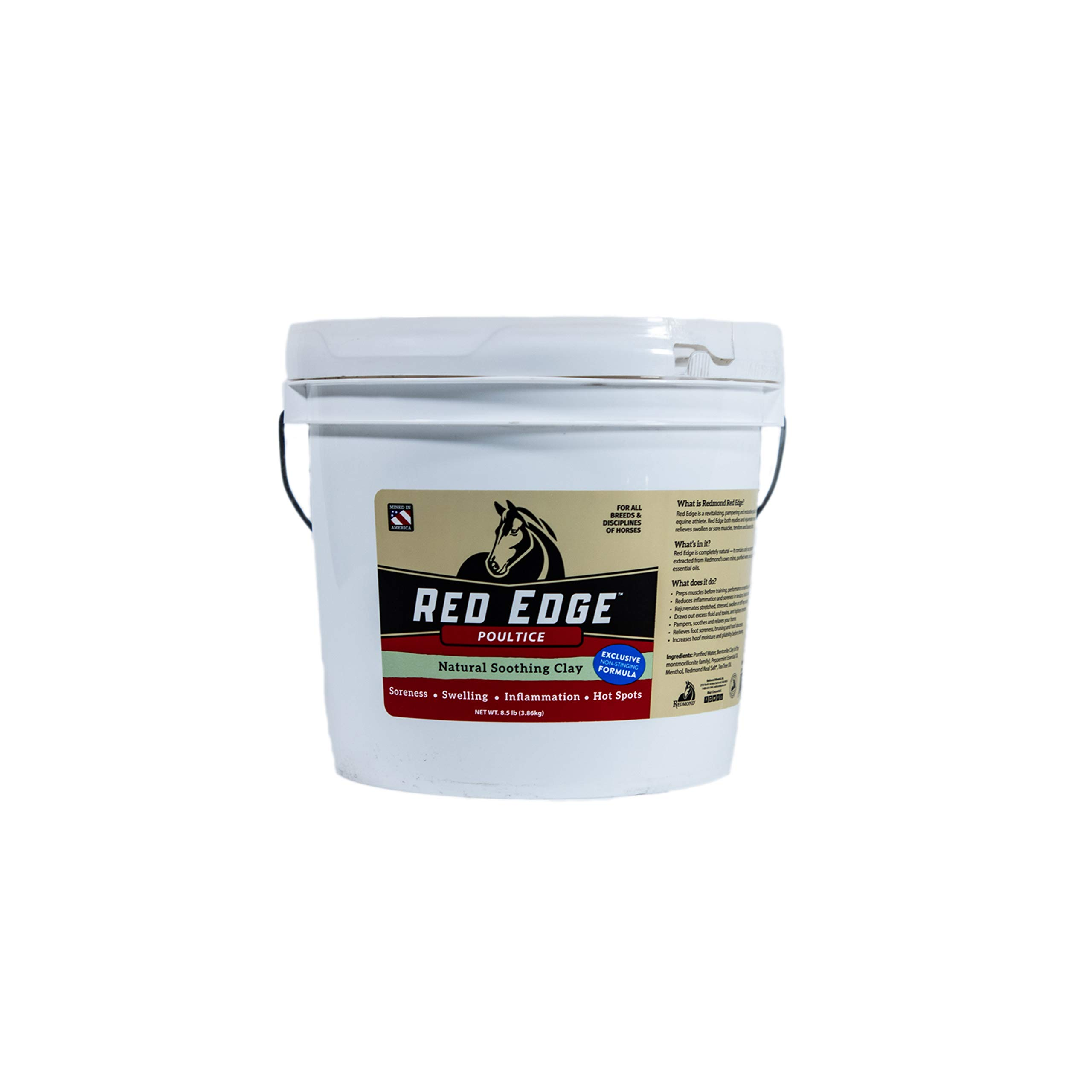 REDMOND Red Edge Equine Poultice, Natural Soothing Clay for All Horse Breeds, 8.5lb Bucket by REDMOND