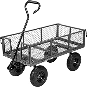 VIVOHOME Heavy Duty 1100 Lbs Capacity Mesh Steel Garden Cart Folding Utility Wagon with Removable Sides and 10 Inch Wheels (Grey)