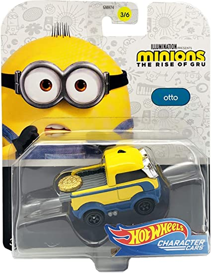 Amazon Com Hot Wheels 1 64 Minions The Rise Of Gru Character Car Otto 3 6 Toys Games
