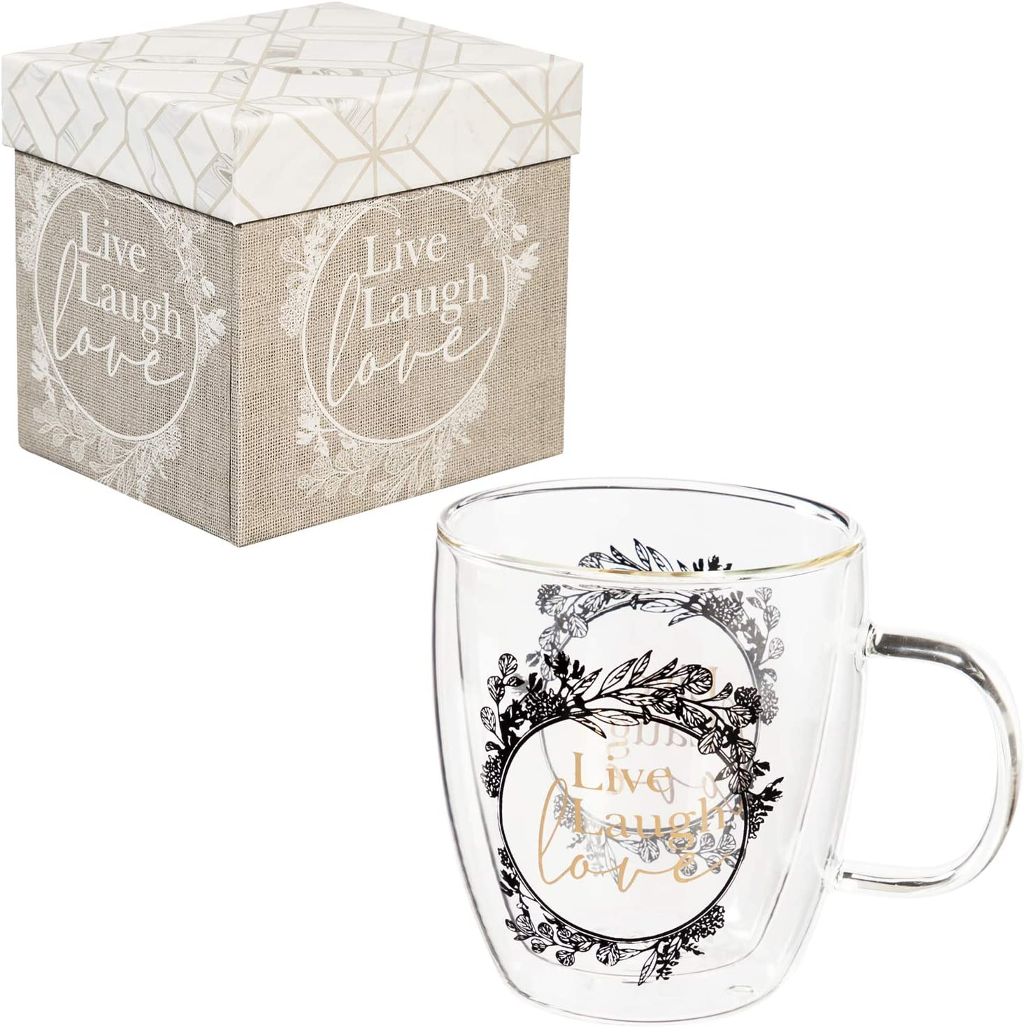 Cypress Home Beautiful Live Laugh Love Double Wall Glass Cafe Cup - 5 x 4 x 5 Inches Homegoods and Accessories for Every Space