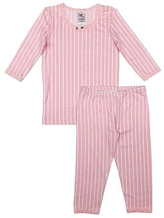 af7d27f90a Esme Girl's Sleepwear 3/4 Long Sleeve Top Leggings Set 2T Blush Stripe