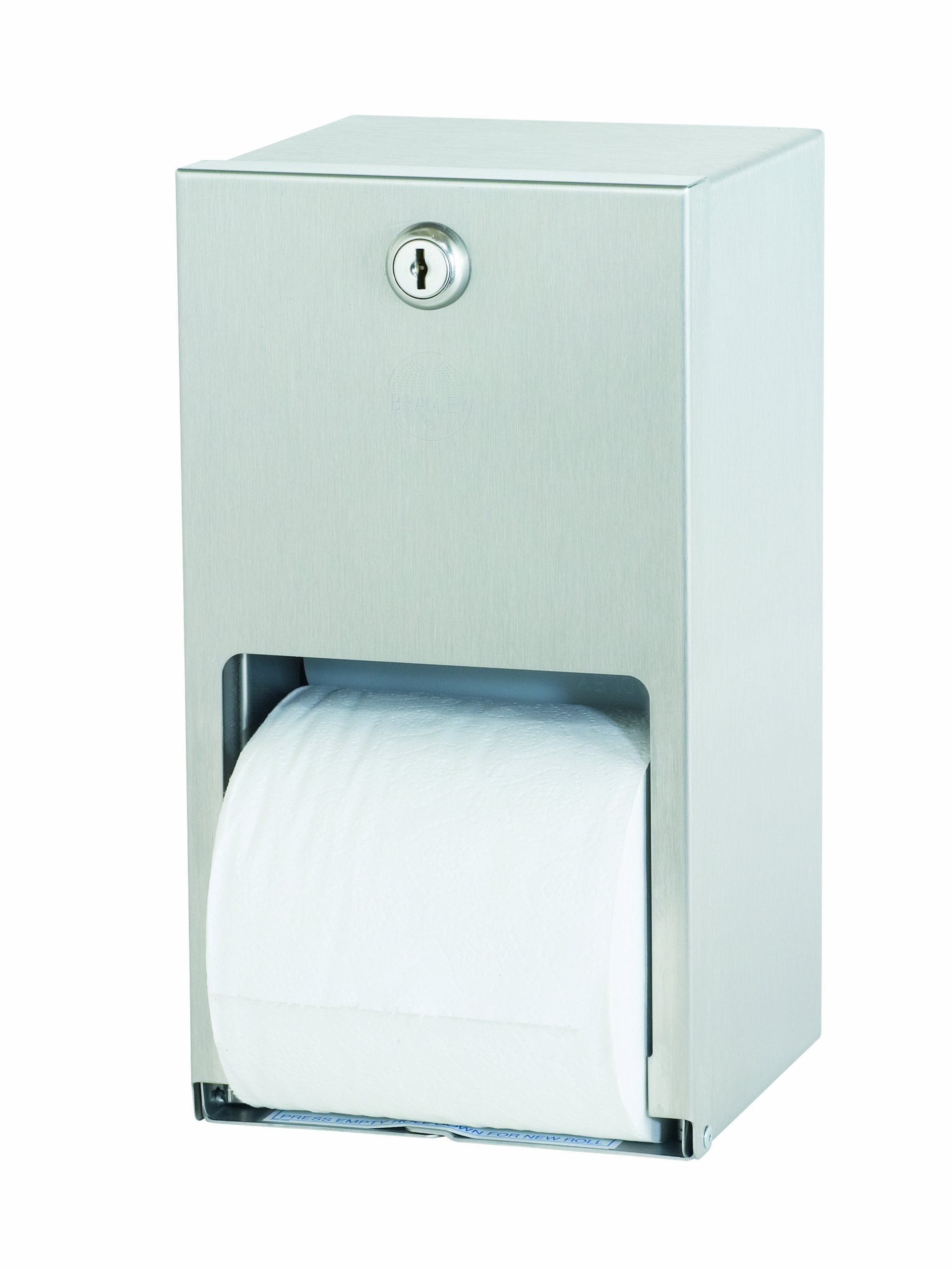 Bradley 5402-000000 22 Gauge Stainless Steel Surface Mounted Toilet Tissue Dispenser, 5-9/16'' Width x 10-3/8'' Height x 5-5/16'' Depth