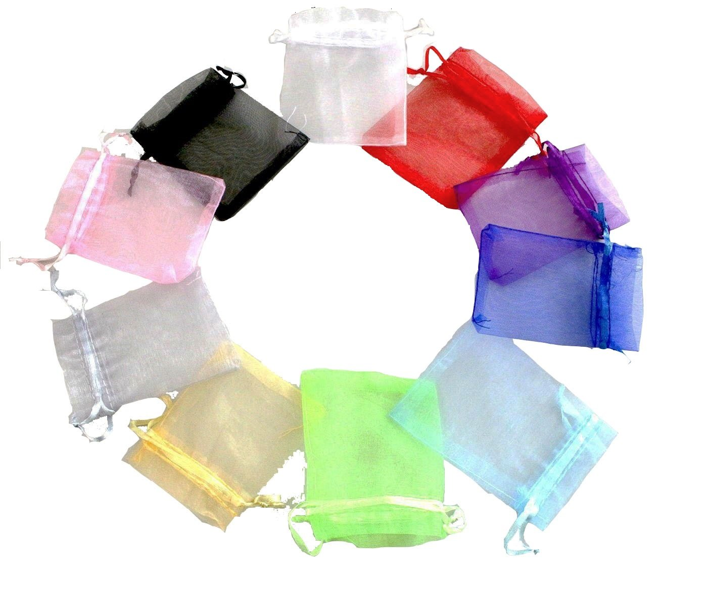 A& S Creavention Organza Mixed Colors Jewelry Pouch Bags Display bags 10 Colors 100pcs (3x4 Inches)