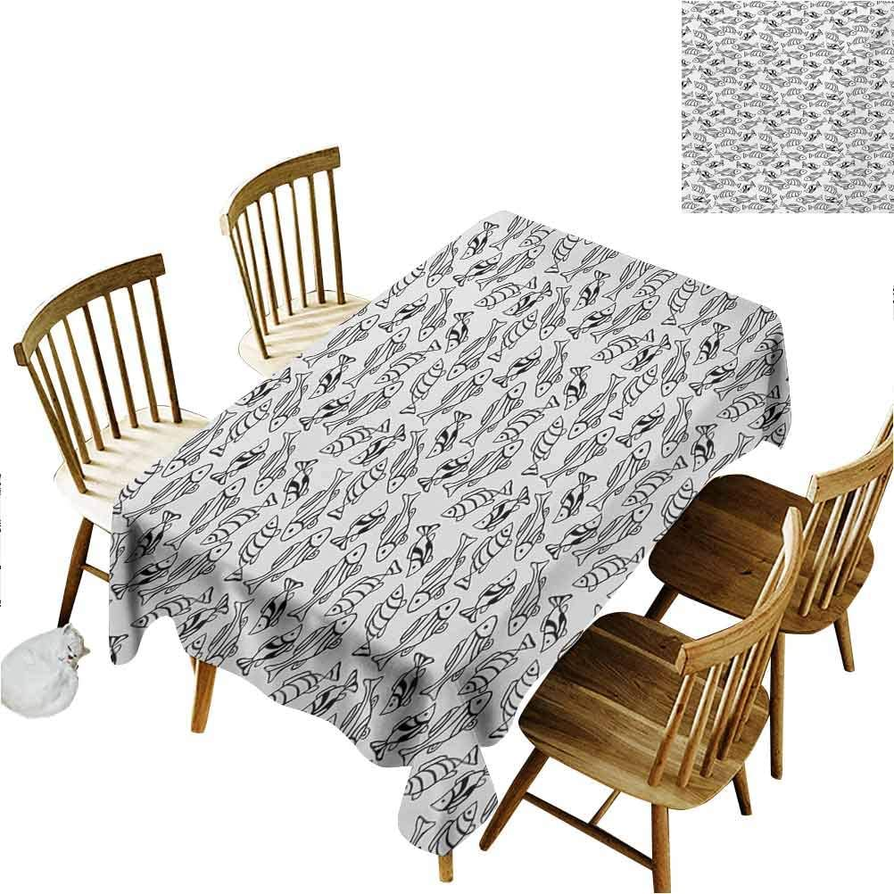 Amazon Com Scottdecor Fish Rectangular Tablecloth Monochrome Aquatic Animals With Line Patterns Coastline Fauna Marine Elements Design Home Fashion Rectangular Table Cover Fabric Black White W60x L102 Home Kitchen