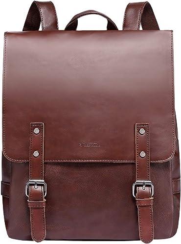 Zebella Vintage Faux Leather Backpack for Women Mens Vegan Leather Back Pack Travel Daypack College Bookbag-Coffee