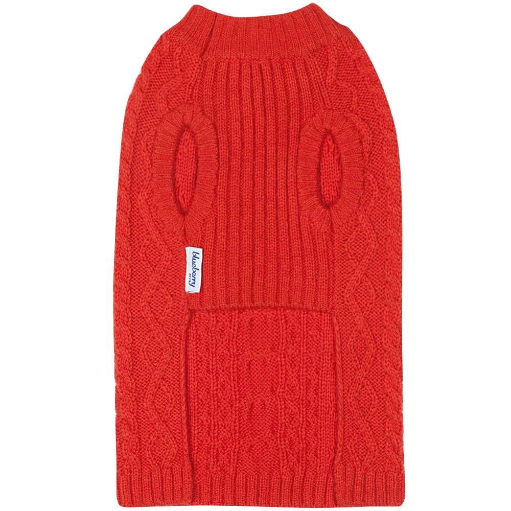 Blueberry Pet 16 Colors Classic Wool Blend Cable Knit Pullover Dog Sweater in Tomato, Back Length 16'', Pack of 1 Clothes for Dogs by Blueberry Pet (Image #5)
