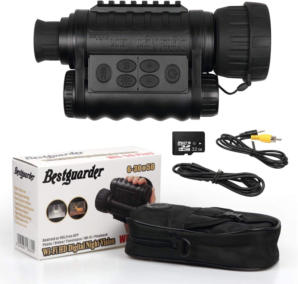 Bestguarder WG-50Plus 6x50mm WiFi Digital Night Vision Infrared IR Monocular with 32G Memory and Camera & Camcorder Function Takes 30mp Photo & 720p Video from 1300ft for Night Hunting or Viewing