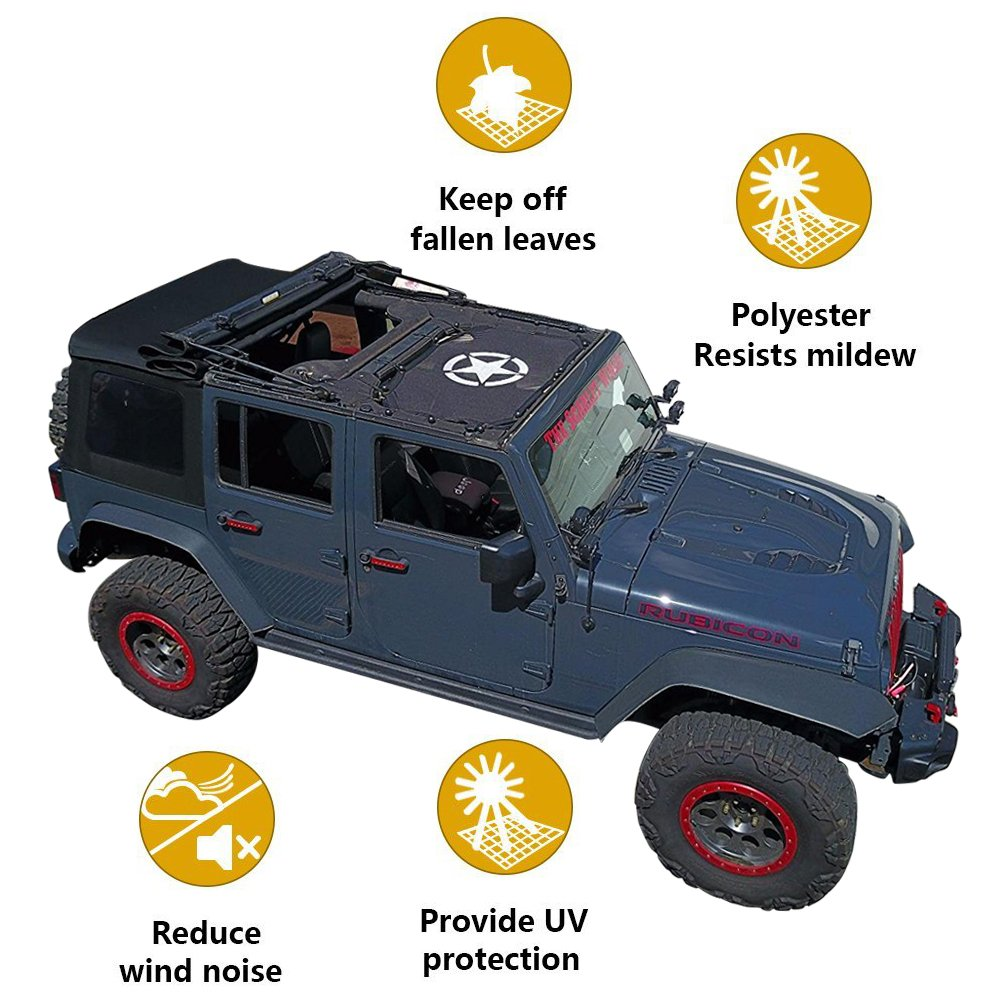 Jeep Wrangler Bikini Mesh Sun Shade Half Top Cover with Logo Storage Pockets For Jeep JK 4 Door or 2 Door (2007-2017)