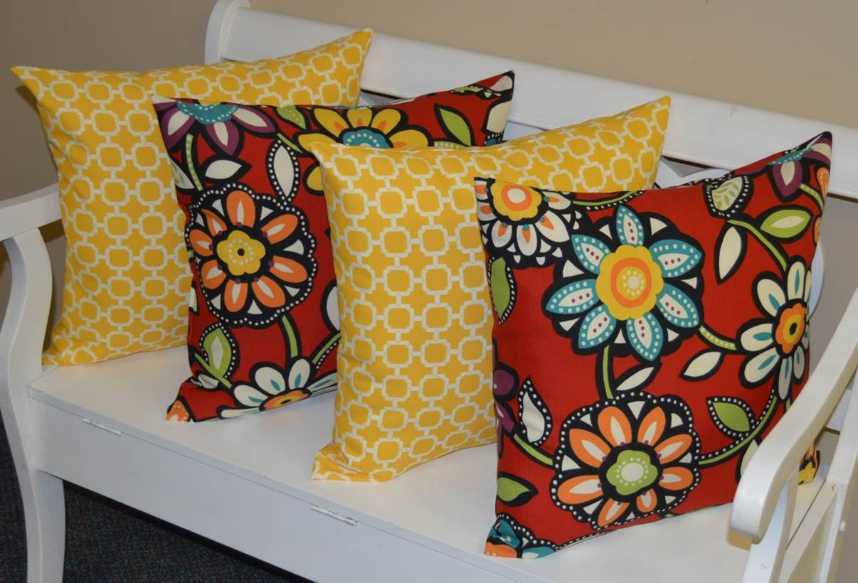 Set of 4 – Indoor Outdoor 20 Square Decorative Throw Toss Pillows – Yellow and White Geometric Hockley Red, Yellow, Blue Contemporary Floral