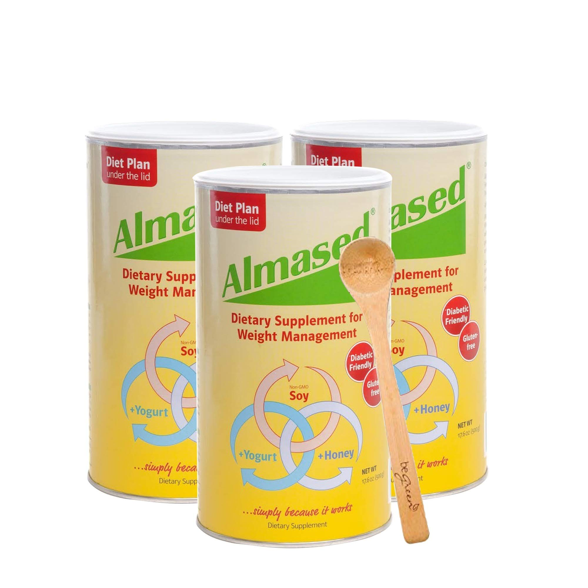 Almased Meal Replacement Shake (3 Pack) with Bonus Bamboo Spoon - 17.6 oz Powder - High Protein Weight Loss Drink, Fat Metabolism Booster - Vegetarian, Gluten Free - 30 Total Servings by Almased (Image #1)