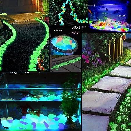 100Pcs Glow in the Dark Pebbles Stone Home Garden Walkway Aquarium Fish Tank Hot