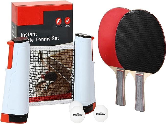 Table Tennis Game Racket Expandable Net 2 Paddle Ping Pong Bat 3 Balls Bag Set