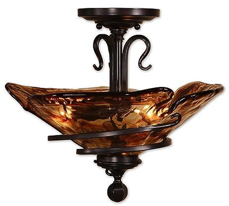 Uttermost 17 5 inch vitalia 3 lt semi flush mount ceiling light fixture oil rubbed bronze