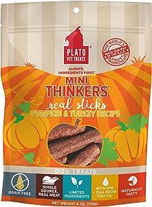 PLATO, Pet Treats, Mini Thinker Sticks Soft Chewy Dog Treats, Air-Dried in USA, Pumpkin & Turkey, 8 oz Bag