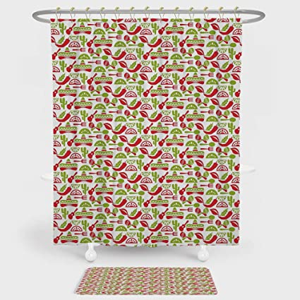 IPrint Fiesta Shower Curtain And Floor Mat Combination Set Mexican Civilization Elements Hats Guitars Food Musical