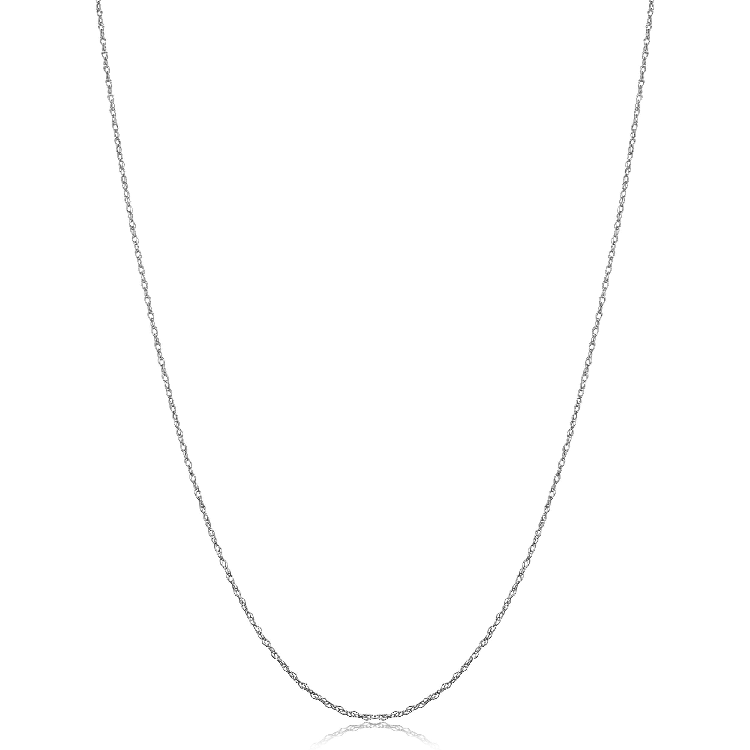 Kooljewelry Solid 14k White Gold Dainty Rope Chain Necklace (0.7 mm, 20 inch)