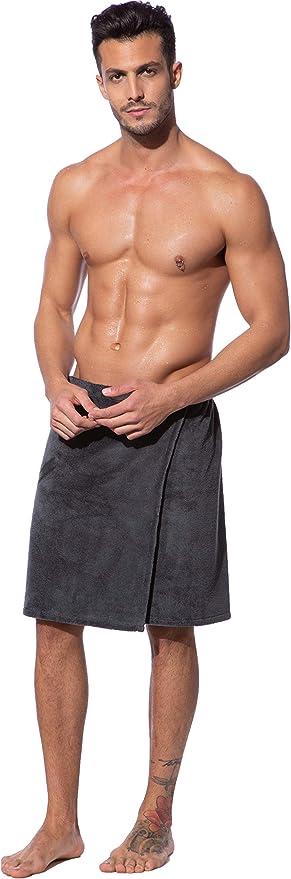 Morgenstern Uomo Kilt da Sauna con Chiusura a Bottone e Elastico Taglia Unica Lunghezza 52 cm Beige