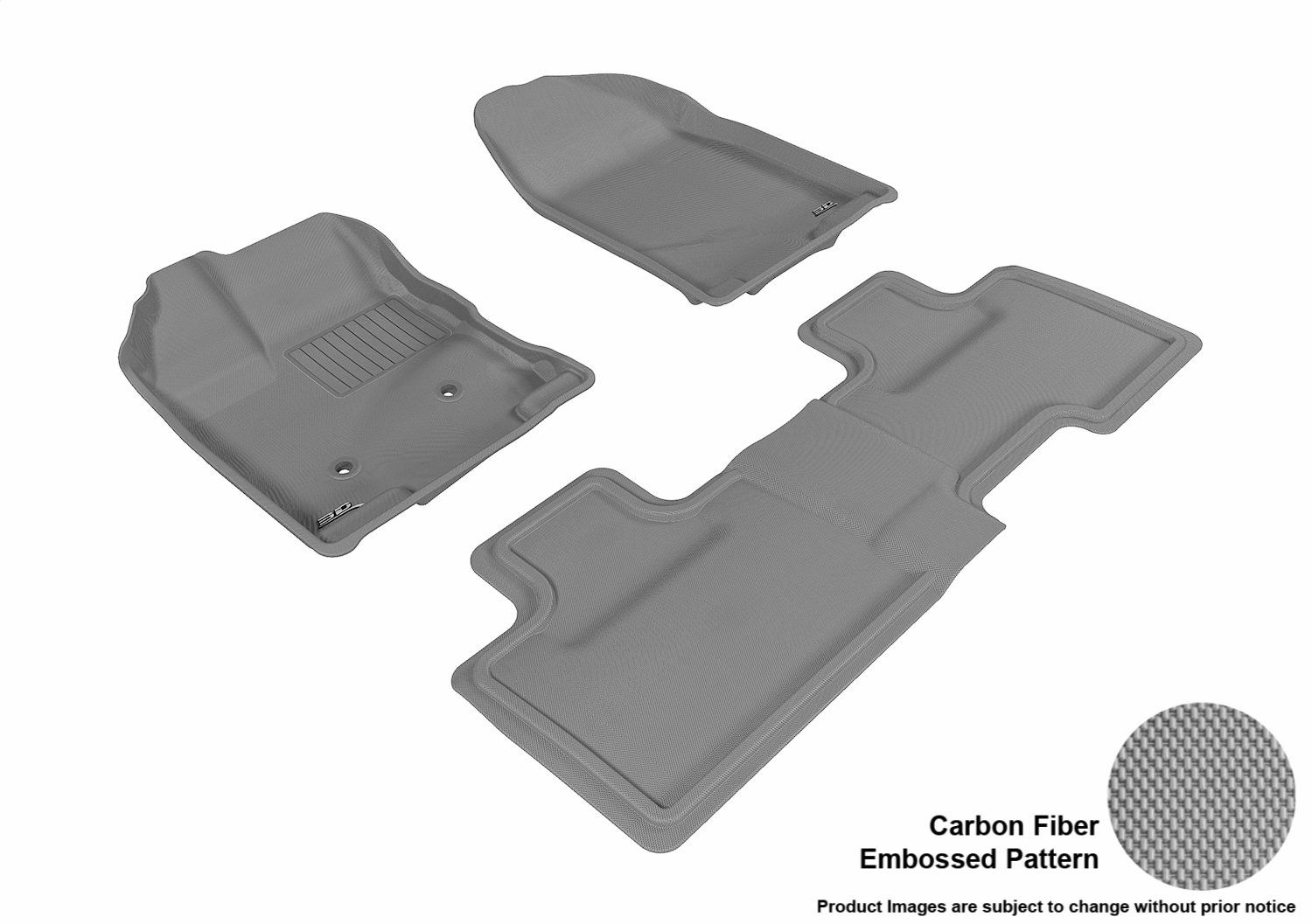 Black L1FR02021509 Kagu Rubber 3D MAXpider Second Row Custom Fit All-Weather Floor Mat for Select Ford Edge Models
